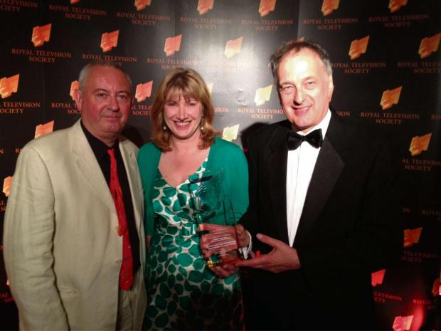 (7689194)Martin J Harris (Film Editor), Jane Estevez (Production Manager) and Peter A Gordon (Producer/Director), at the Royal Television Society awards