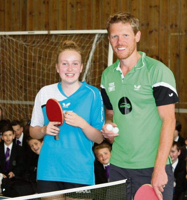 Wharfedale Observer: Mark Smith, Focus Table Tennis and Ilkley Grammar School student Kate Nixon