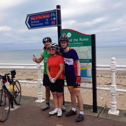 (7466793)).  At the end of the ride (from left to right): Ian Stephenson, Karen Landells, James Izzard.