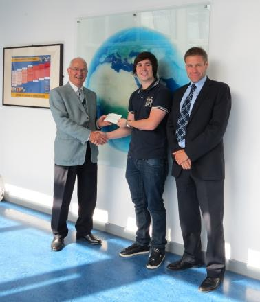 Travel scholarship winning Prince Henry's Grammar School student Oliver Proctor (centre) with Foundation Governors chairman Dr Chris Hatton (left) and head of Sixth Form Trevor Davidson (right).
