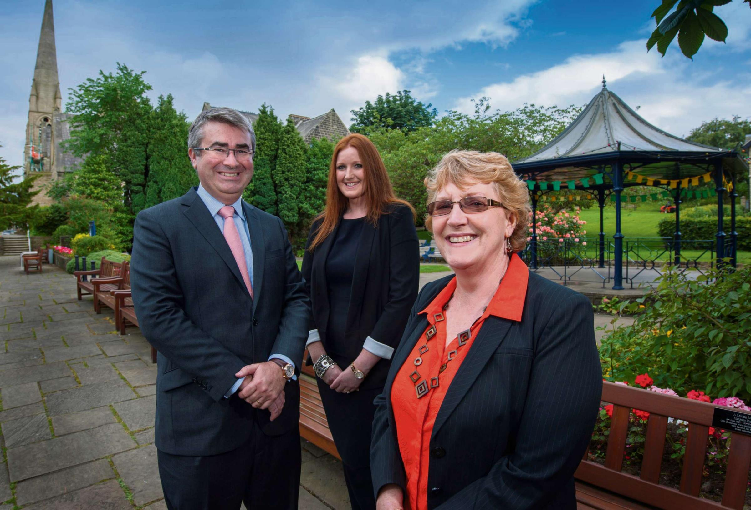 OPEN FOR BUSINESS: Pictured (L to R) with Newtons Solicitors new Ilkley office in the background are joint founder and managing director, Chris N