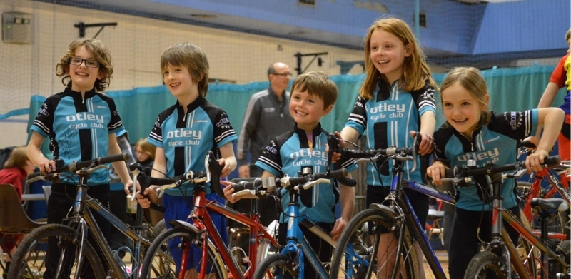 Otley Cycle Club's junior riders at the Yorkshire Roller Racing Championships 2014 - (left to right) Zachary Quin, James Luxton, Daniel Middlebrooke, Emily Middlebrooke,