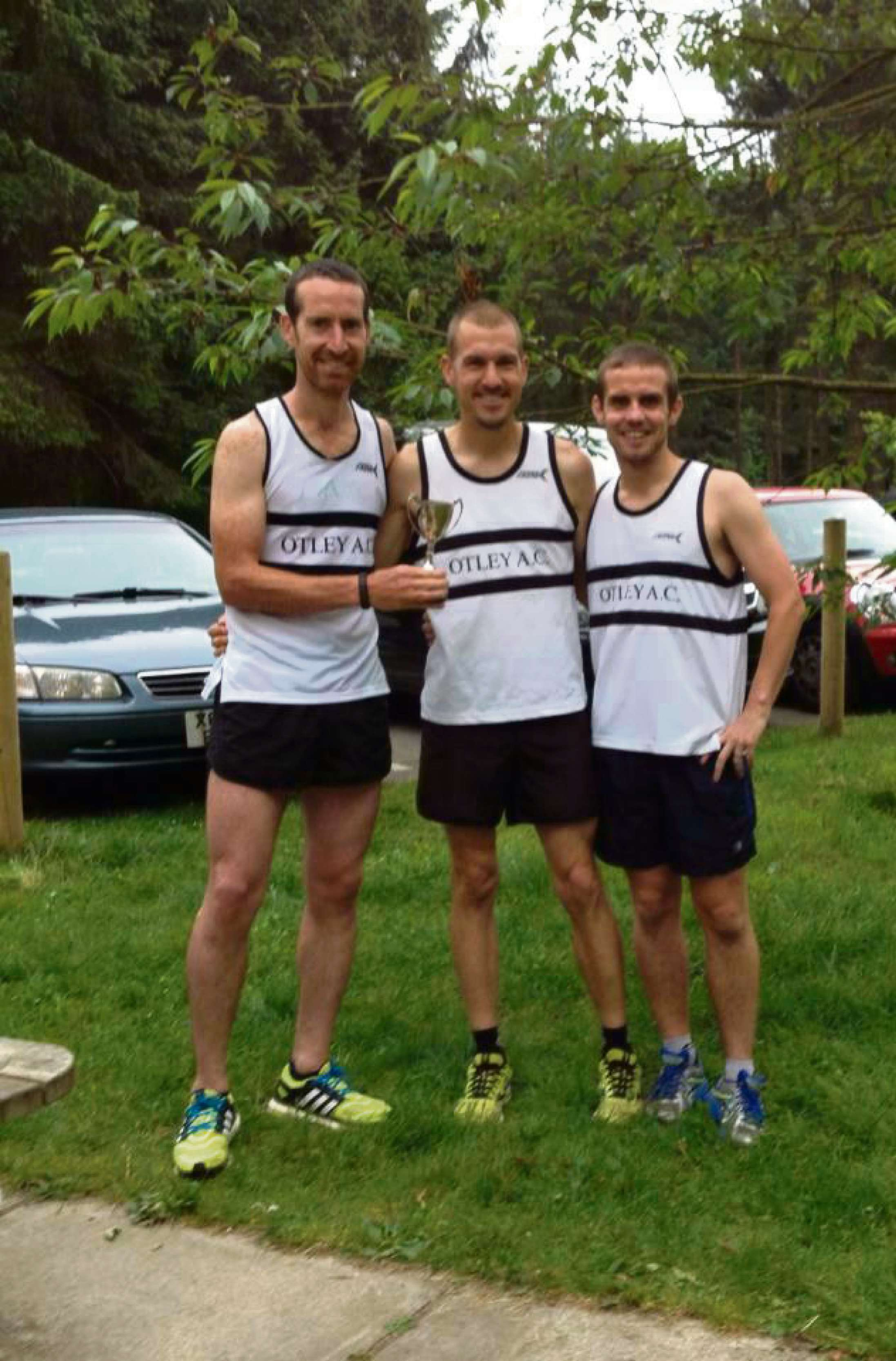 Otley's A team, who won the team prize at the Washburn Valley Relay. From left: Liam Dunne, Scott Harrington and Tom Midgley