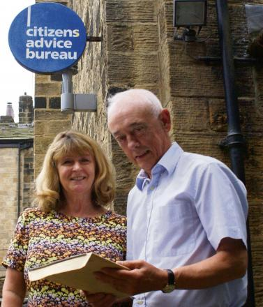 Otley Citizens Advice Bureau co-ordinator Ailsa Bearpark with Town Councillor Kevin Cooney.