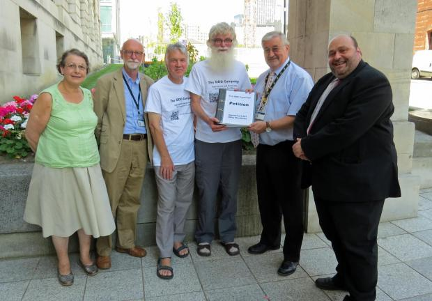NB Please courtesy credit: Photo by Jenny Watson.ODD campaigners and local councillors presenting the petition - (left to right) Evelyn Friend, Councillor Colin Campbell, John Buck, Alastair Watson, Councillor Peter Gruen, Councillor John Eveleigh.