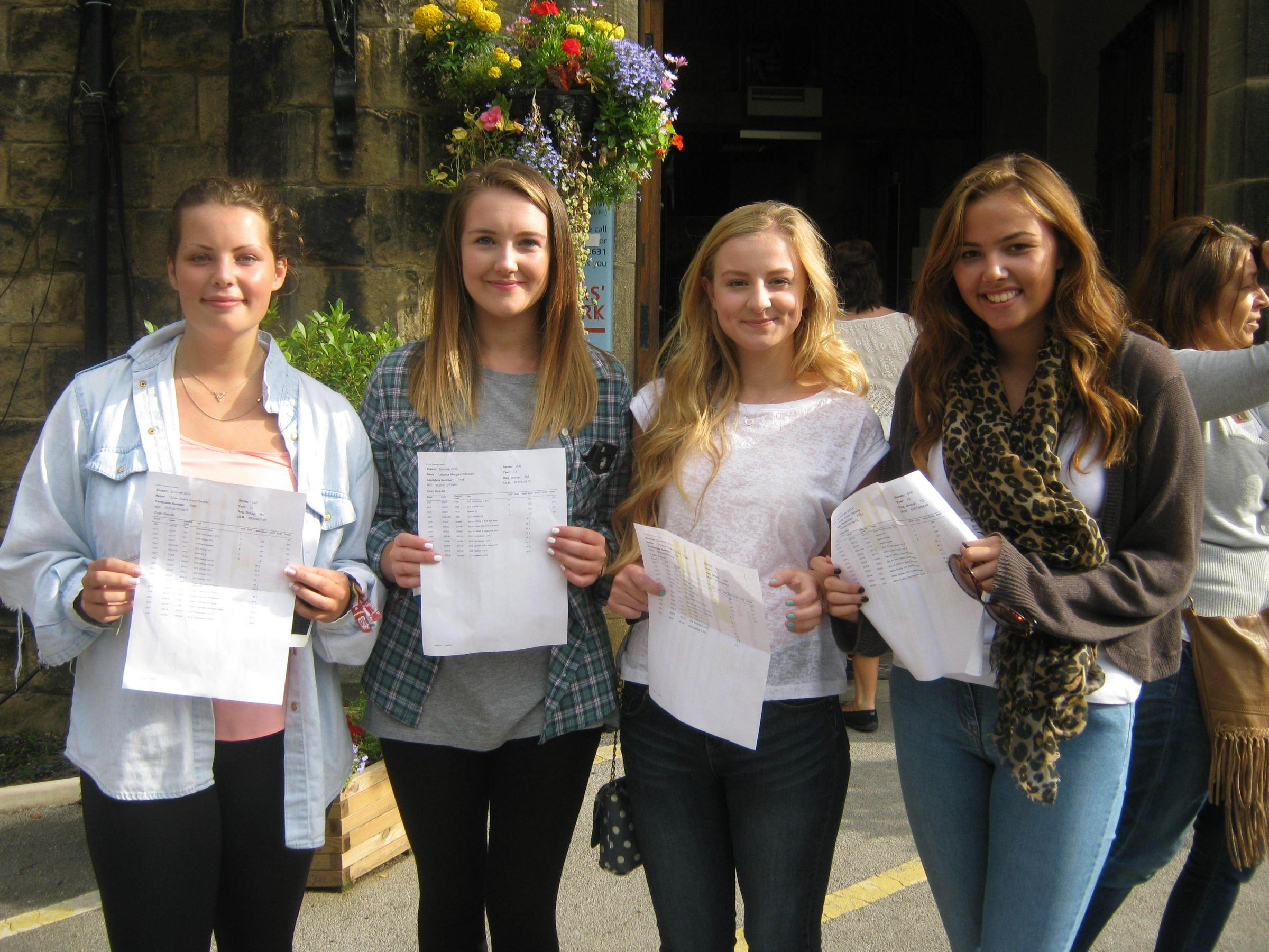 Drew Hanson, Jessica Mitchell, Poppy Padgett and Tilly Dennis have secured places at university after gaining good A-level results at Ilkley Grammar School