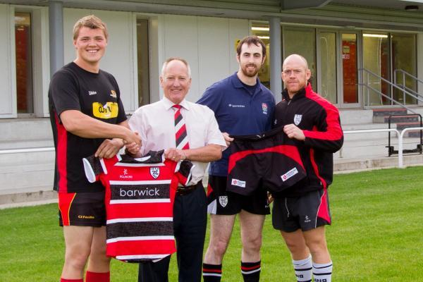 New signing James Spencer, rugby chairman Andrew Munro, Pete Small and player-coach Steve Graham show off Ilkley's new kit. Picture: ruggerpix.com