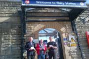 John Grogan with Labour Party members Sandy MacPherson and Michael Abrams at Ilkley station