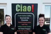 Corrie Foster, right, with sister Katie Davies outside Ciao! in Guiseley.