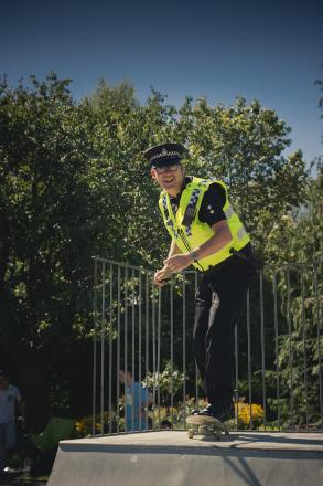 Inspector Richard Coldwell showing off his skateboarding skills at Wharfemeadows Park (Photograph by Nate James)
