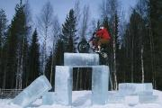 Dougie Lampkin takes on the ice pillars during his Tundra Trial