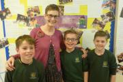Inspirational - Pool C of E Primary School headteacher Sally Fox with Year 5 pupils.