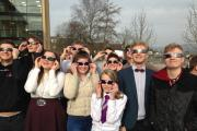 Students at Ilkley Grammar School safely view the eclipse