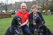 Colin Watson of the Ilkley Carnival Committee and Fun Dog Show Judge Wendy Lacy with her two Large Munsterlanders Lila and Ruby