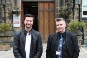 Film maker Corey Greenop on his visit to Ilkley Grammar School, with media teacher, Dave Burrowes