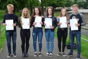 Pupils at Benton Park School, Rawdon, with their GCSE results
