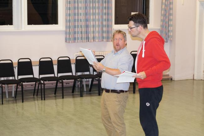BrassNeck Theatre rehearsals for The Addams Family. Richard Lloyd (left) who plays Gomez Addams and Jason Evens (right) who plays Lurch.