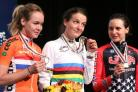 C A Rhodes Memorial Award winner Lizzie Armitstead dons the famous rainbow jersey as world champion after winning the women's road race in Virginia in September. Alongside her are runner-up Anna Van Der Breggen, left, of the Netherlands, and bronze medall