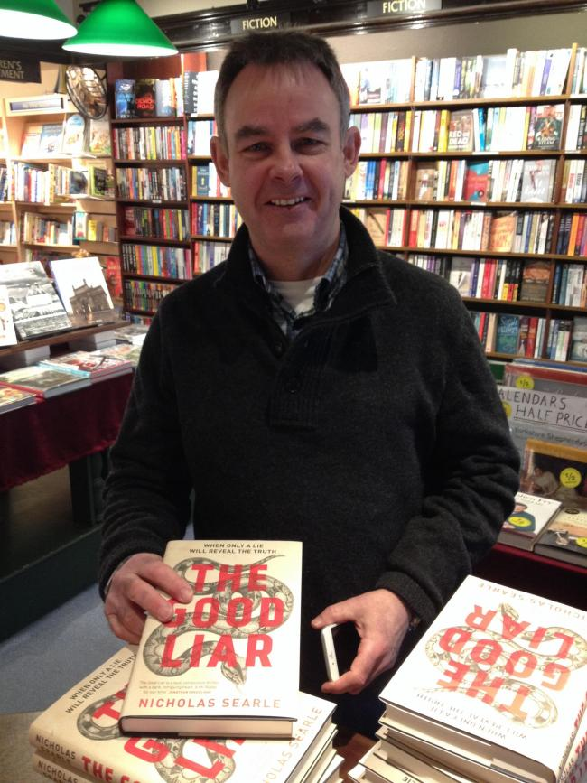 Nicholas Searle, author The Good Liar. He is pictured at The Grove Bookshop in Ilkley where he signed copies his book which are now on sale