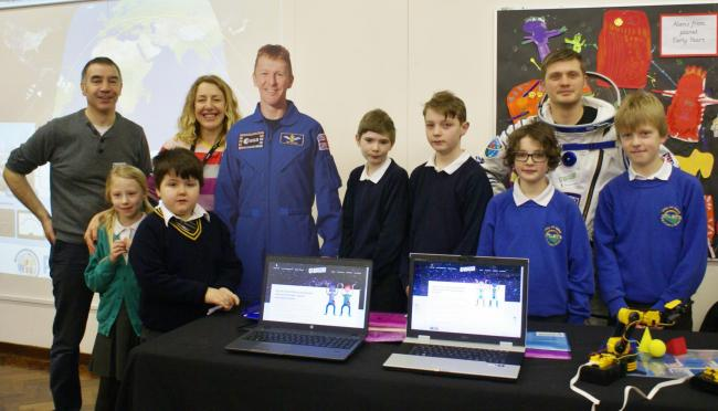 Pupils, staff, visitors and a cardboard cut-out of British astronaut Tim Peake at the recent STEM festival held at Ashfield Primary School - pupils from the Otley school will talking to the real Major Peake via a link-up in May.