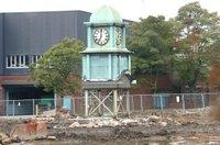 The industrial clock is the only thing left standing from the demolished Brook Crompton factory at Guiseley.