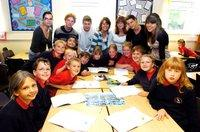 Swiss visitors are pictured at Tranmere Park Primary School