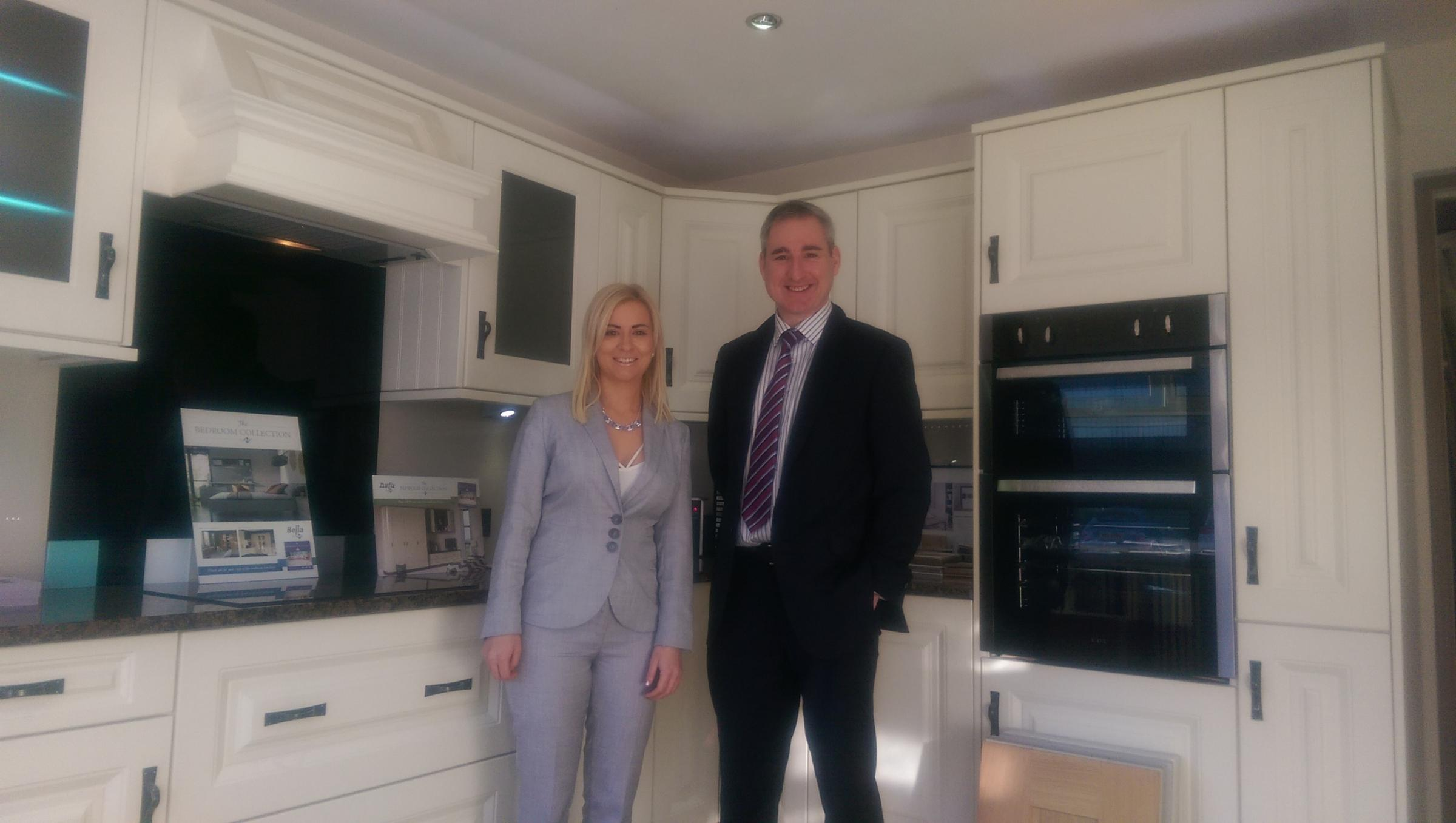 Greg Mulholland visiting the kitchen company. Also pictured is Melissa Walsh