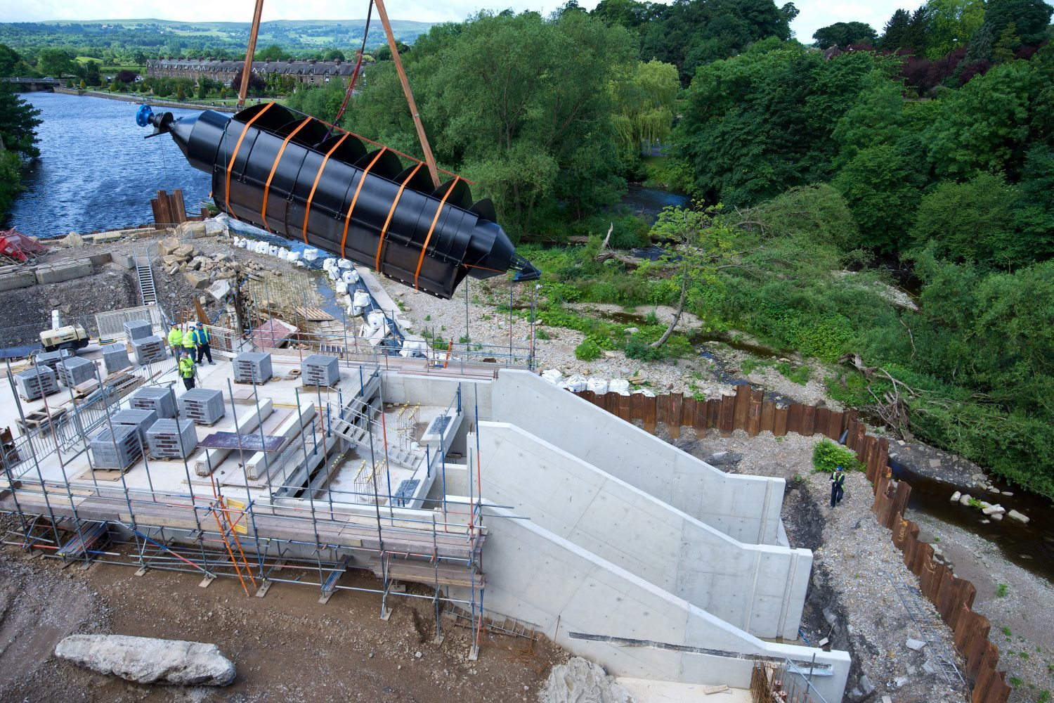 One of the two huge Archimedes screws that have been installed at the hydro-electric turbine on Otley Weir.