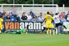 Jake Lawlor scores Guiseley's second goal.