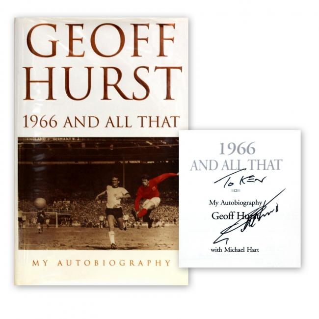 The signed copy of 1966 and All That: My Autobiography, by Geoff Hurst, which was on sale in Ilkley.