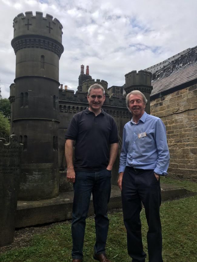 4f37ee56 MP Greg Mulholland with John Raffo from Otley Conservation Task Force  beside the Navvies Monument.