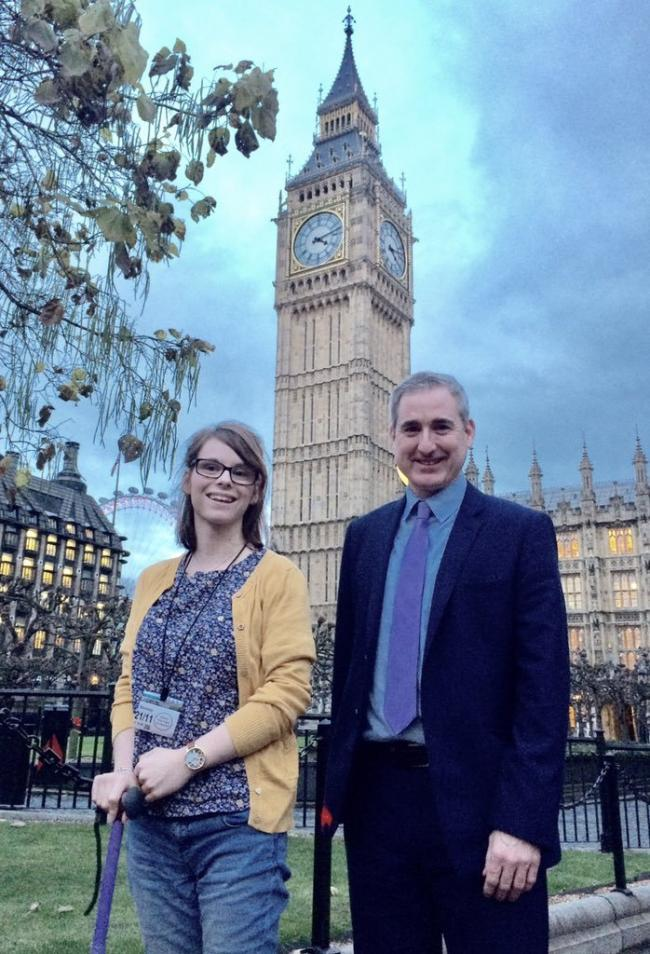 'Inspirational' - student Chloe Tear, from Otley, with MP Greg Mulholland at Westminster.