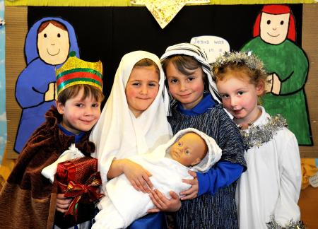 The reception class at Burley Oaks School performed a Nativity set to nursery rhymes.