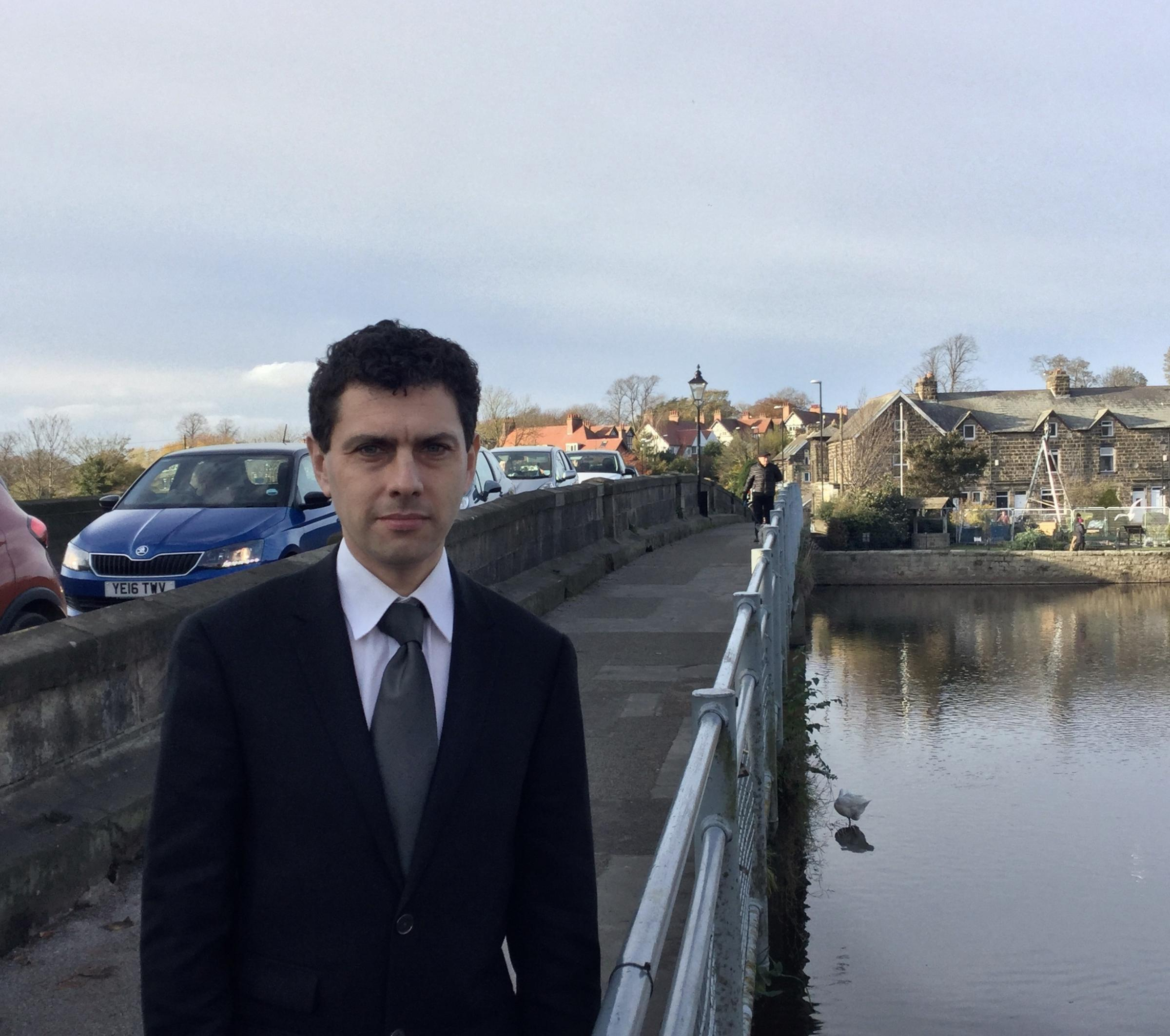 MP Alex Sobel on Otley Bridge