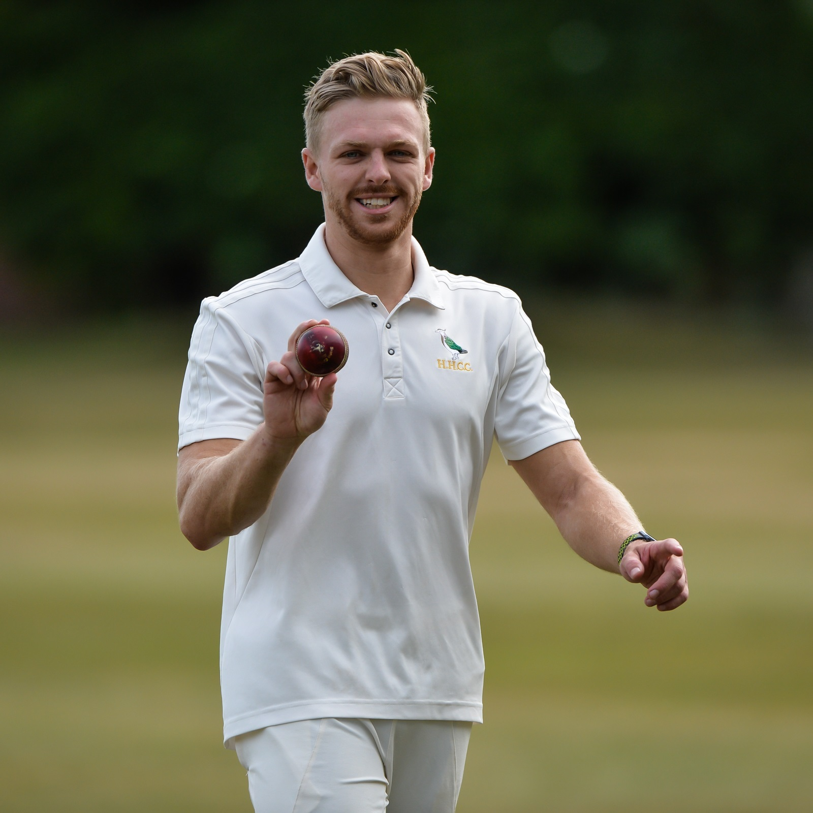 No wonder Hanging Heaton bowler Tom Chippendale is smiling as he finished with 8-17, including four wickets in four balls and six wickets in eight, as Lightcliffe were skittled for 32 Picture: Ray Spencer