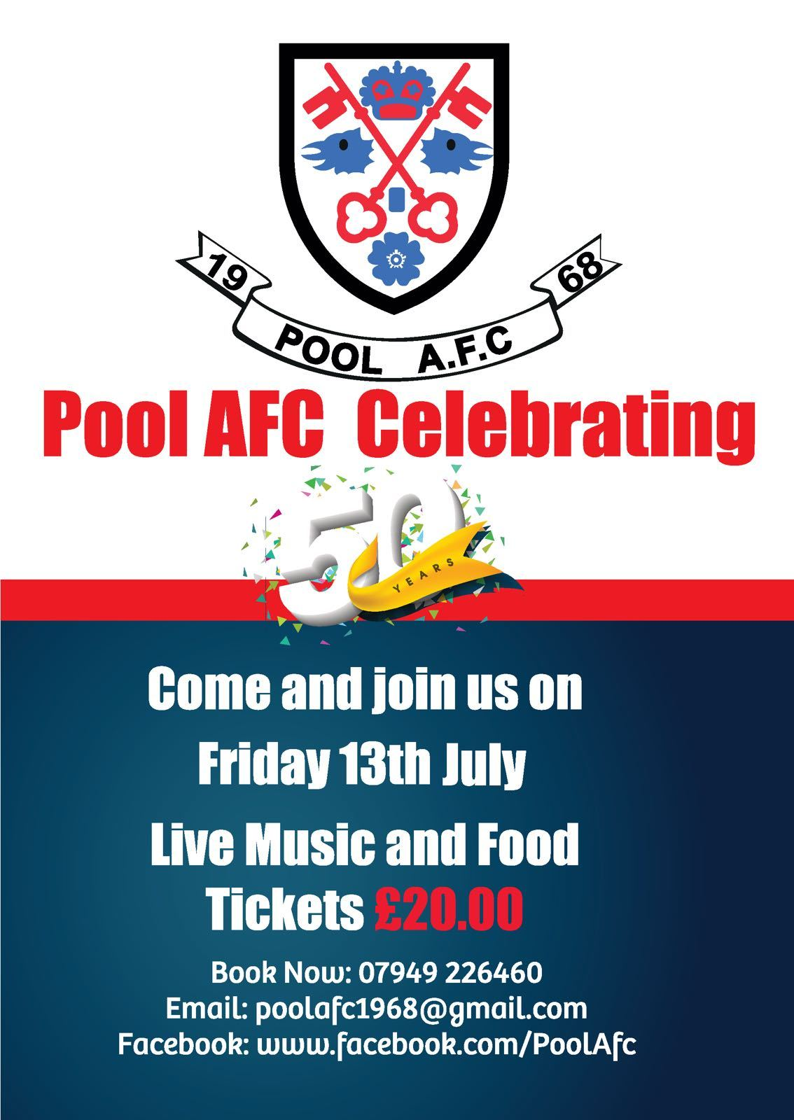Pool are celebrating their 50th birthday on Friday, July 13, and everyone is welcome to join Picture: Pool AFC