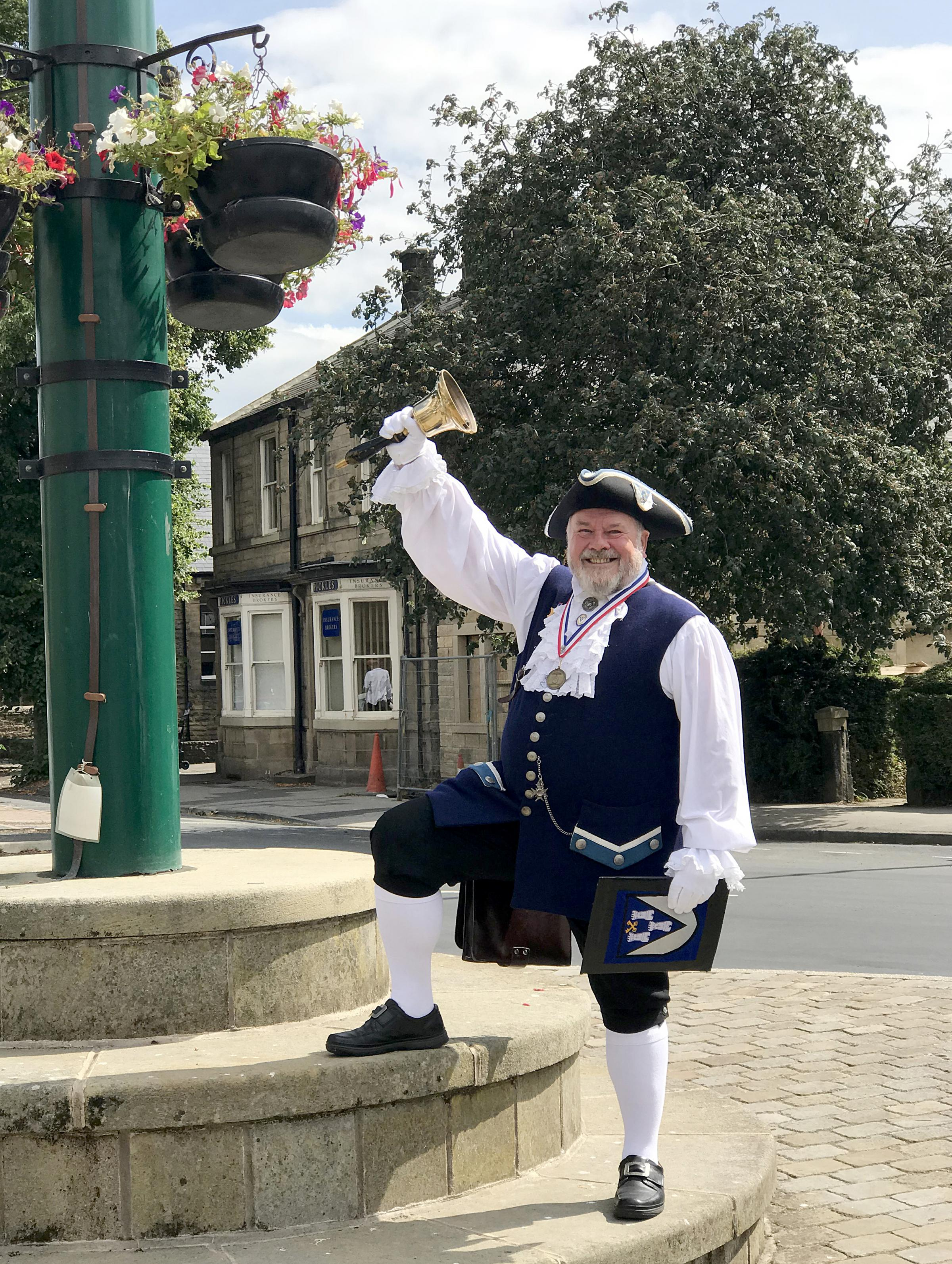 Otley's award-winning town crier and 2017 national champion, Bellman Terry Ford