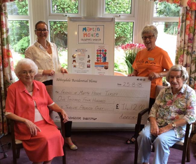 L-R: Resident Mary Ashton, manager Francesca Dey, Pam Ravenscroft, of Martin House and Resident Joyce White