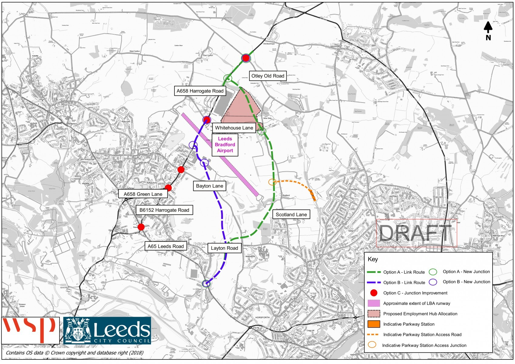 Illustration of the proposals to improve connectivity to Leeds Bradford Airport