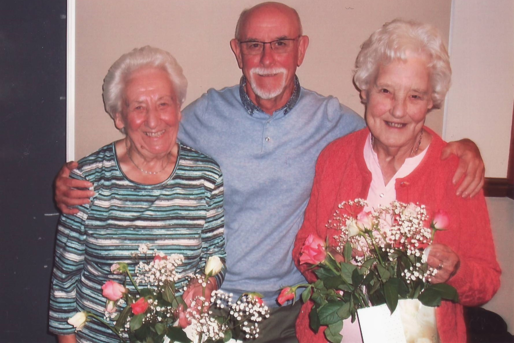 Avsed volunteers Joyce Heslop, Colin Wrigg and Dorothy Downs who received bouquets to thank them for their work