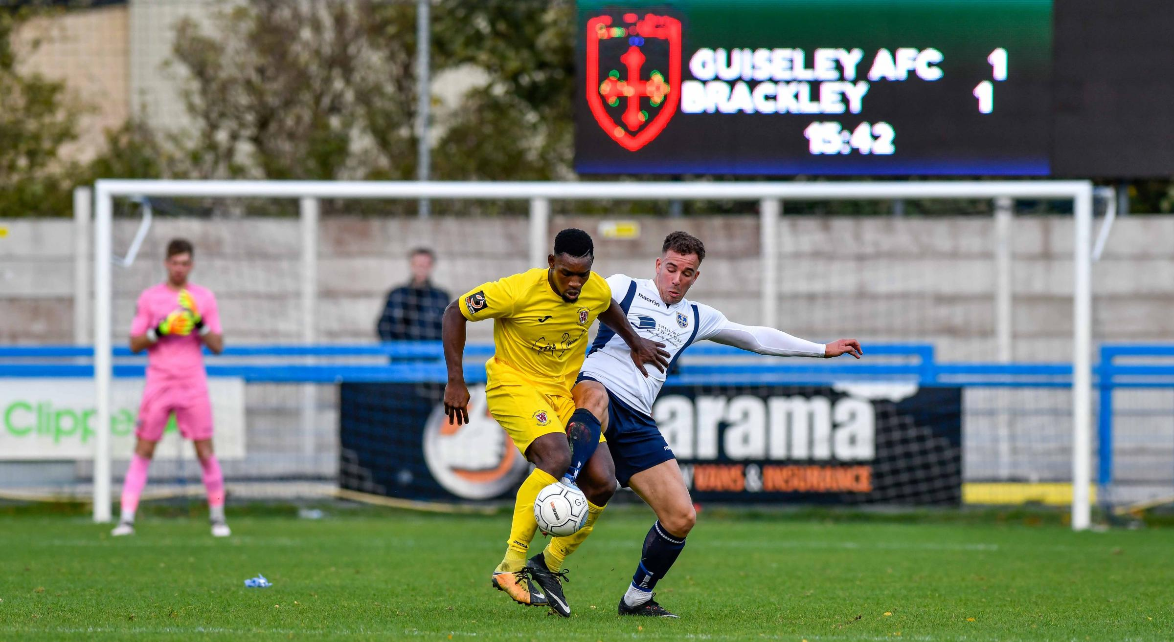 Guiseley V Brackley Niall Heaton & Lee Ndlovu. Action from Guiseley's 2-1 win over Brackley Town. Picture: Andy Garbutt