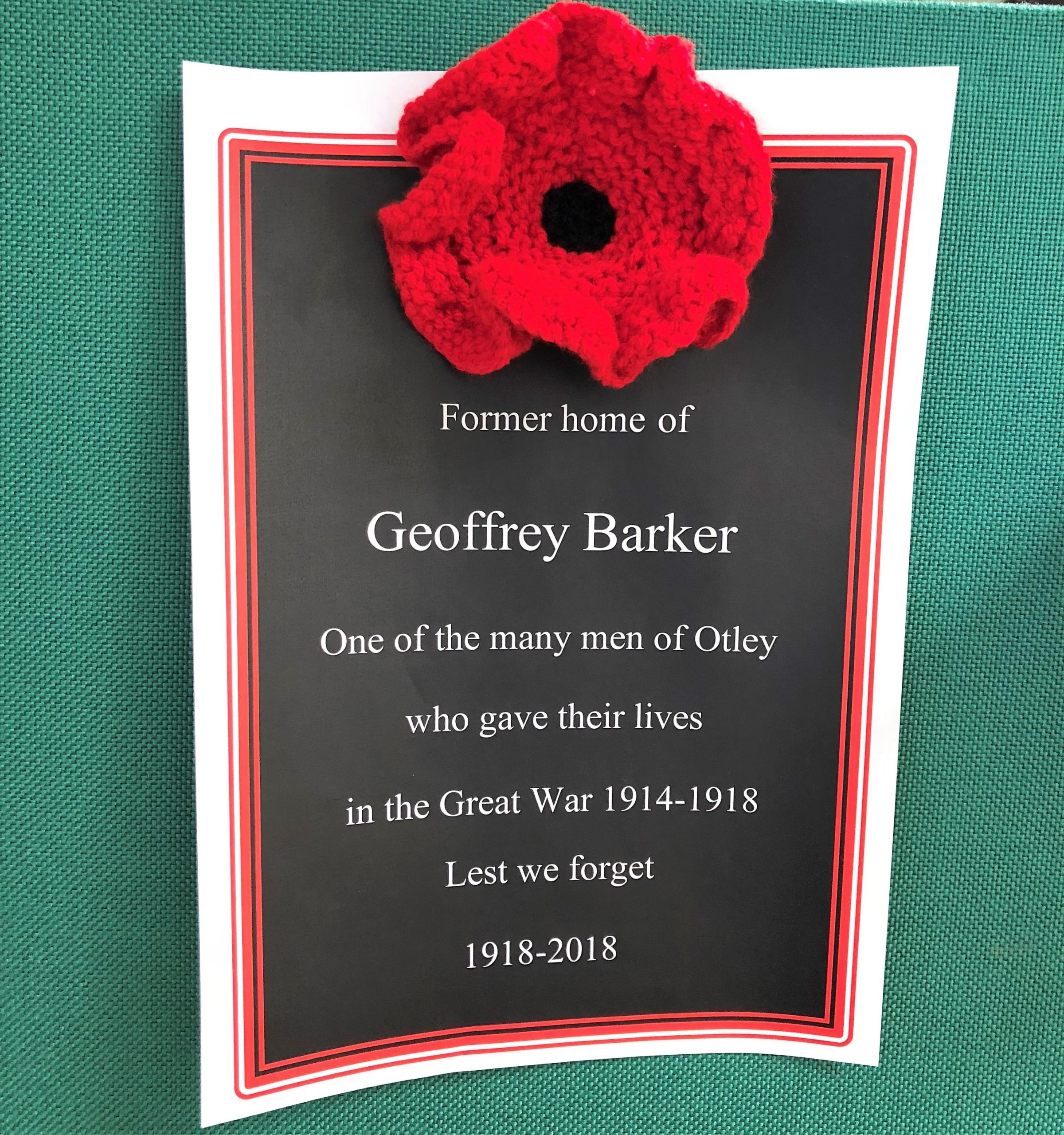 One of the memorial posters that will be displayed in Otley on Remembrance Day