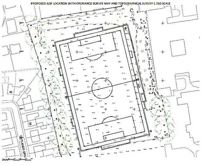 A location drawing of the 3G sports pitch being proposed at Prince Henry's Grammar School