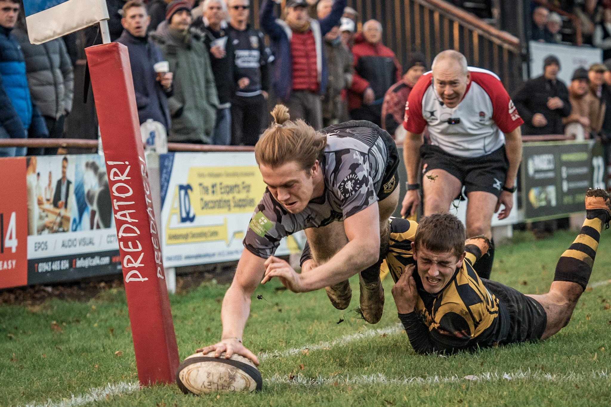 Ben Magee, shown here going over for a try against Hinckley, has been influential for Otley this season. Picture: John Ashton.