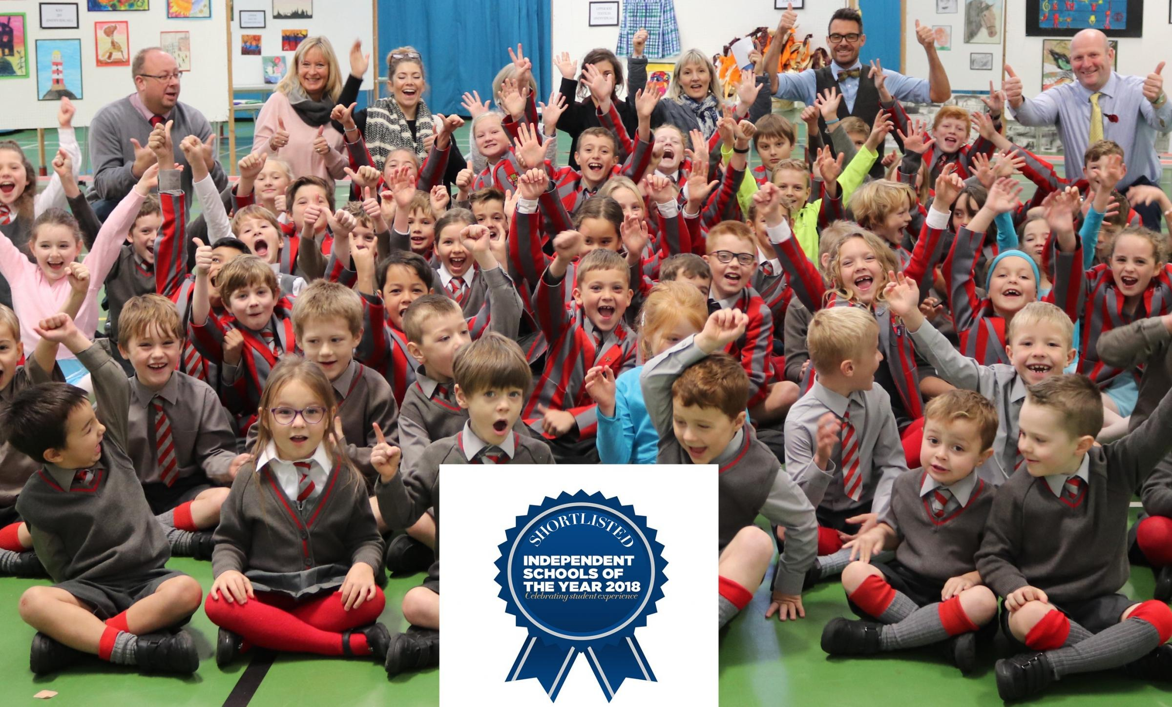 Ghyll Royd School pupils cheering on hearing the announcement that their school had been shortlisted for the Independent School of the Year awards