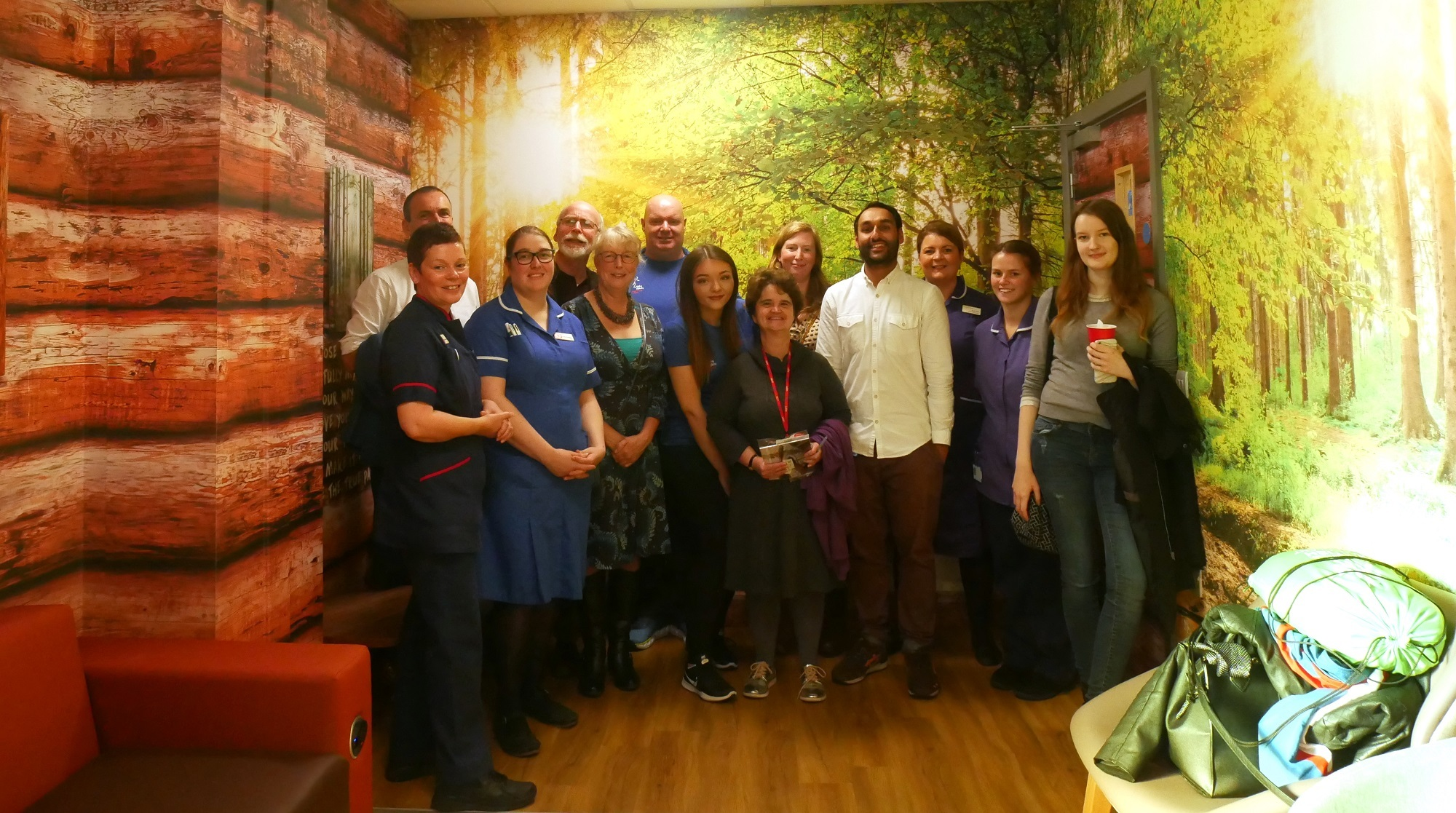 Staff and patients at the opening of The Cabin at Leeds Liver Unit
