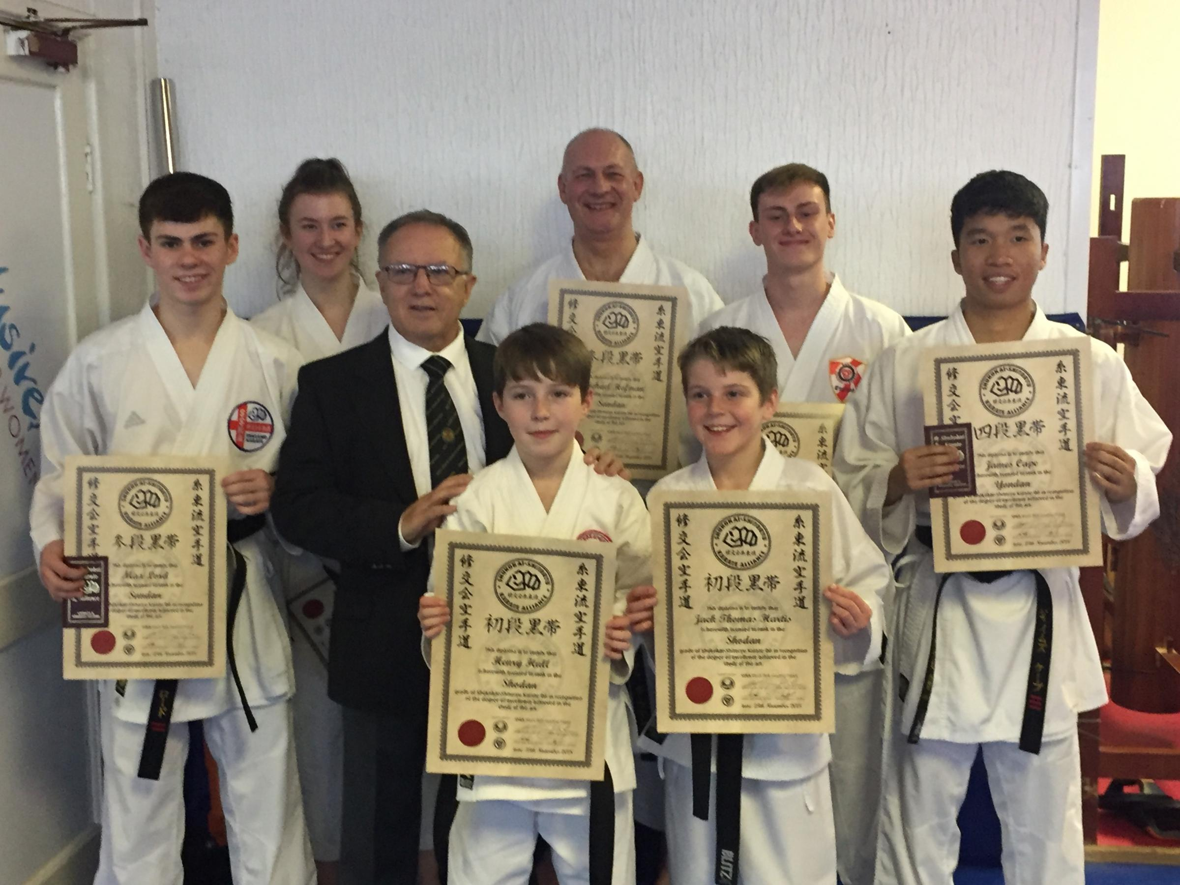 Otley and Harrogate karate centres were successful at a grading in Cheshire. Picture in the front, from left, are Shihan Ken Gee, Henry Hull and Jack Hartis. In the back are Max Lord, Natalie Hofman, Mike Hofman, Cameron Lord and James Cape