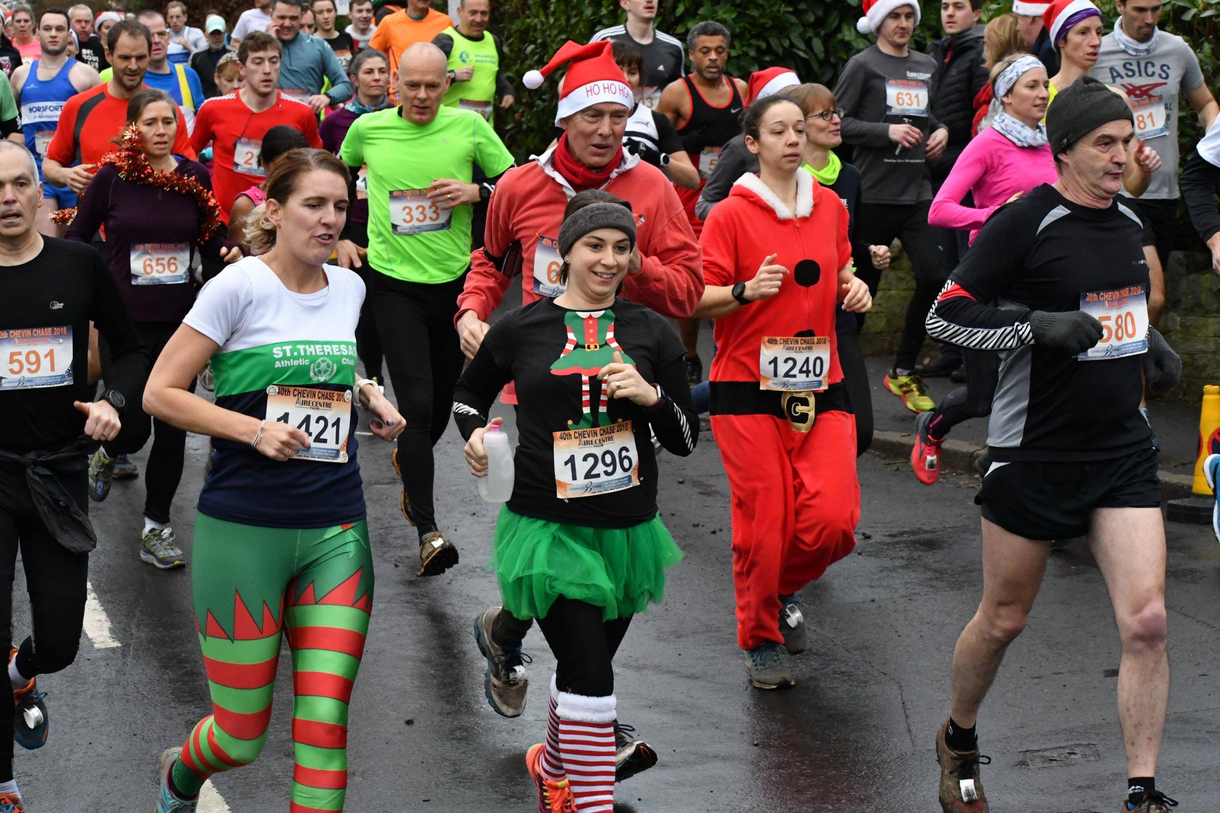 Competitors running off their Christmas dinners during the 40th Chevin Chase