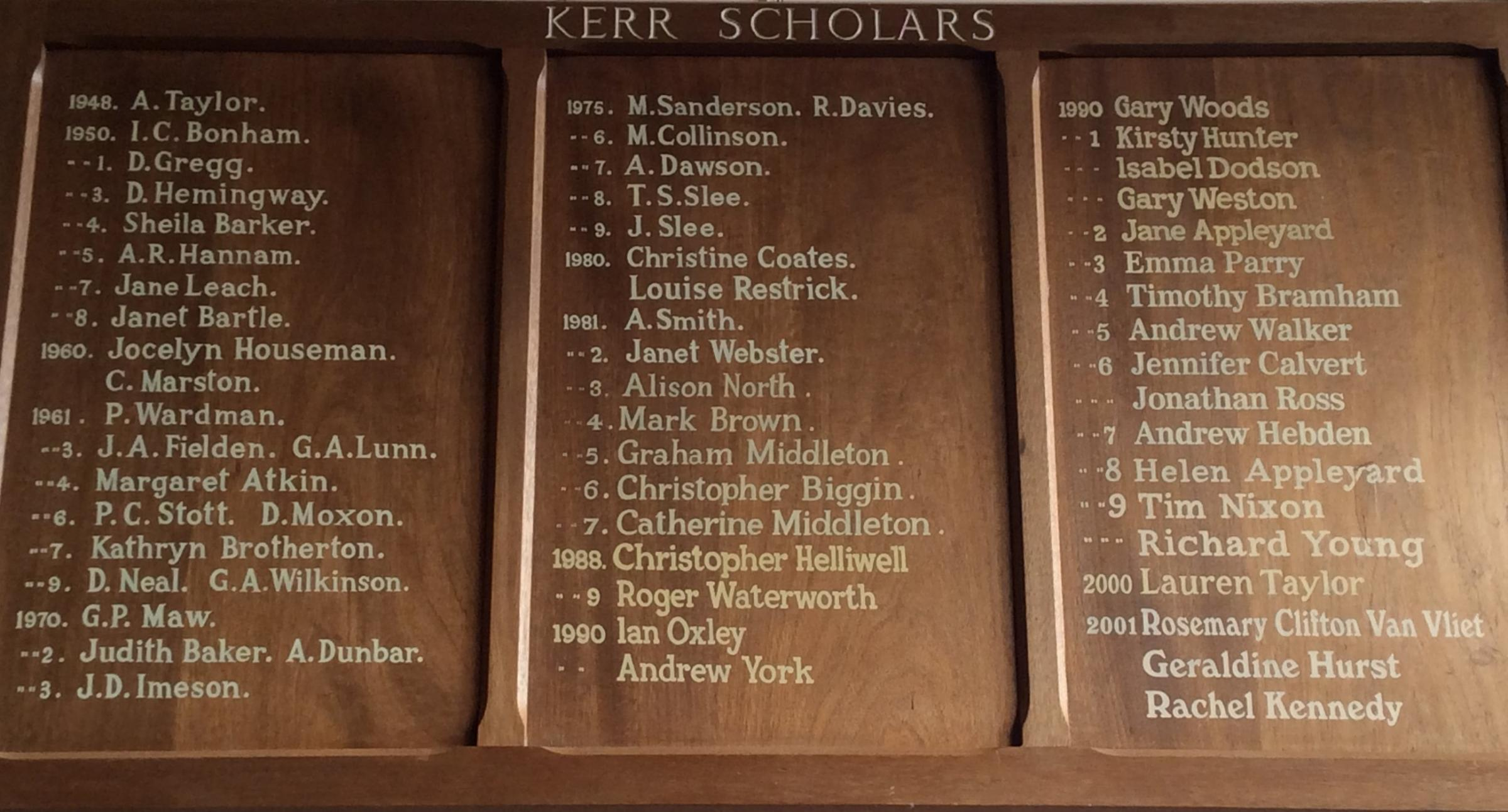 Kerr Scholarship winners' names are displayed in the Main Hall at Prince Henry's Grammar School