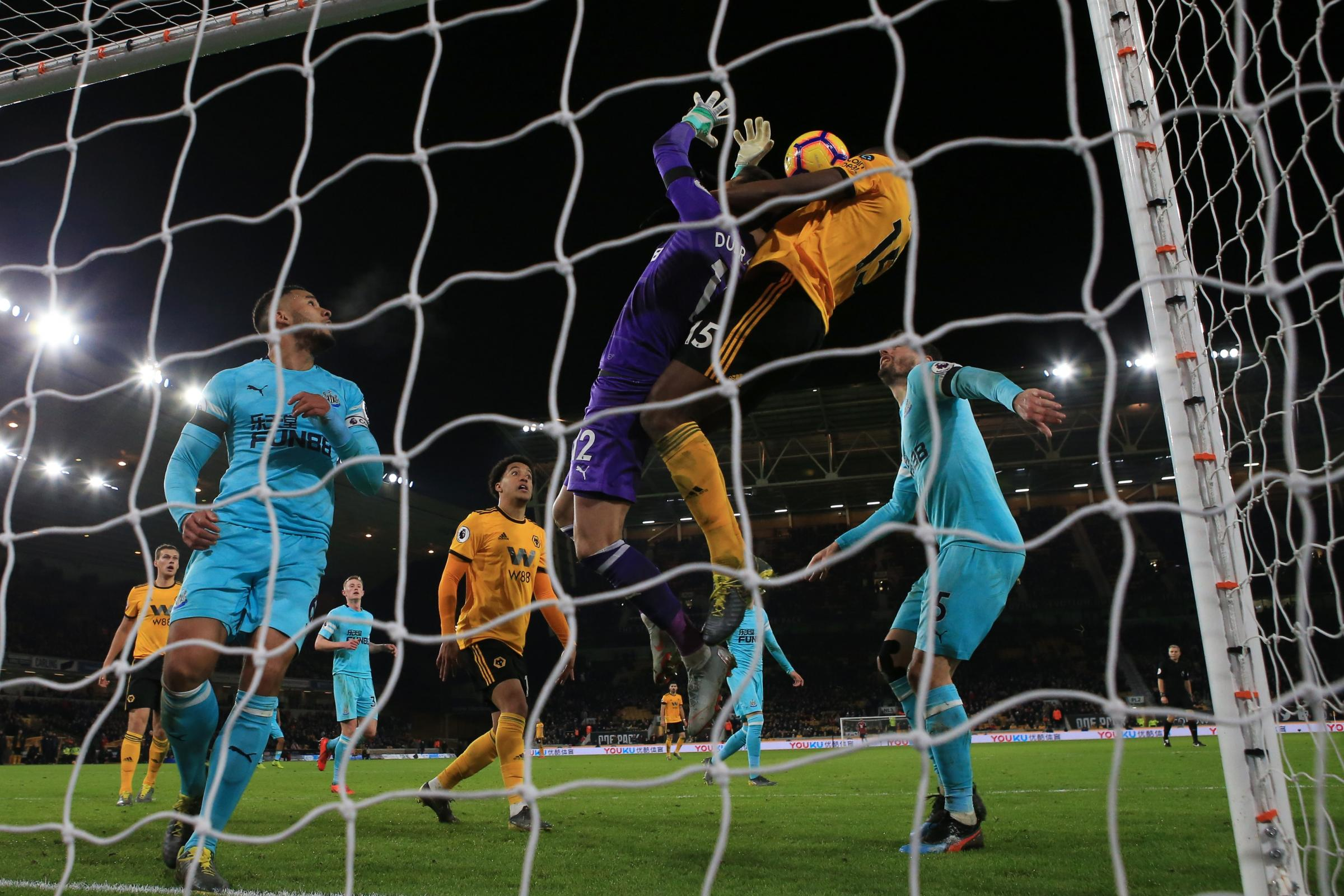 Willy Boly's header drew Wolves level against Newcastle